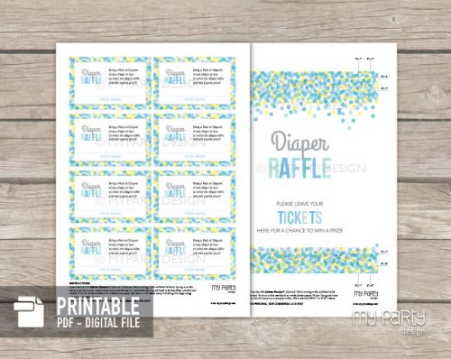 printable boy baby sprinkle diaper raffle tickets and sign