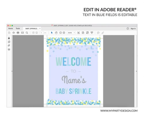 editable welcome sign for baby sprinkle