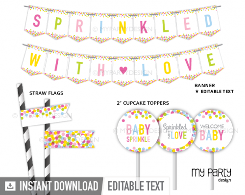 printable baby sprinkle baby shower decorations