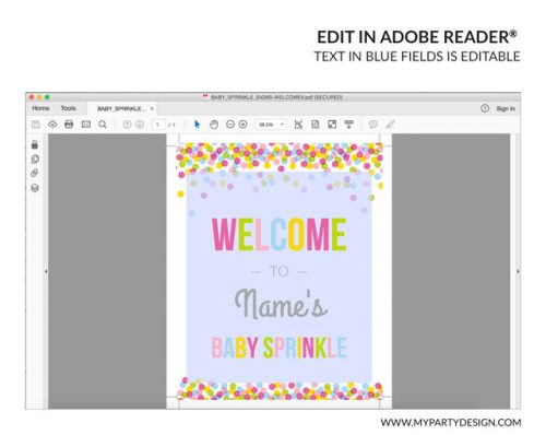 baby sprinkle welcome sign printable with editable text