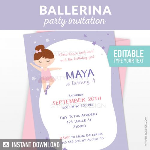 purple ballerina party invitation printable