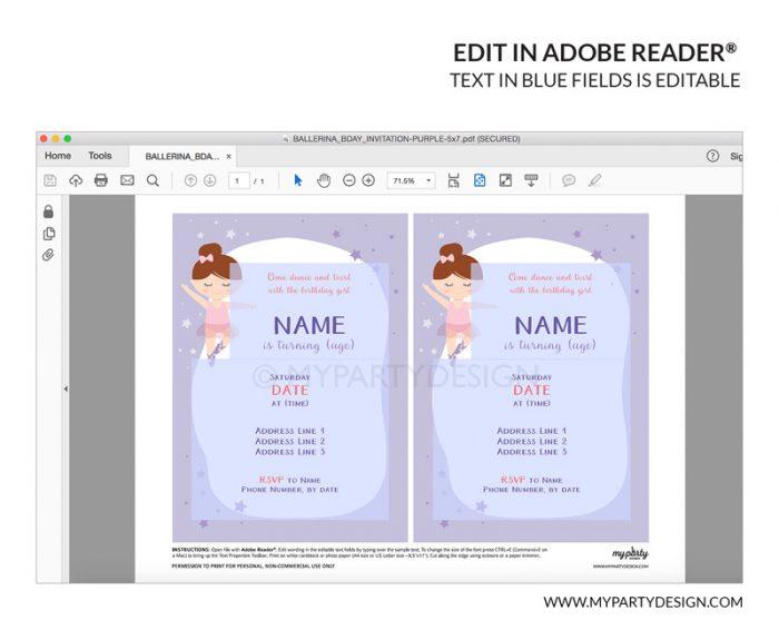 ballerina party invitation - printable editable invite
