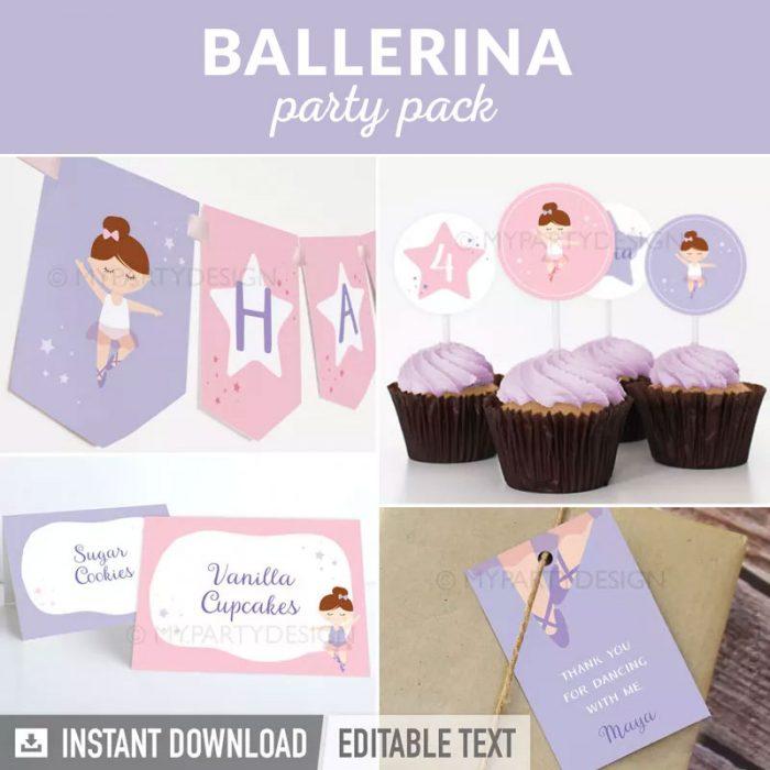 ballerina party decoration printables
