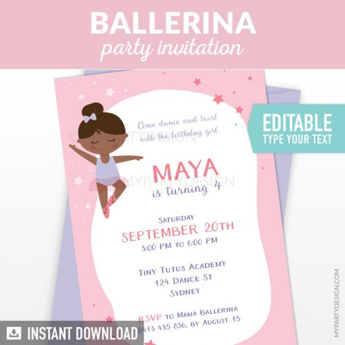 Black ballerina invitation - printable instant download editable invite