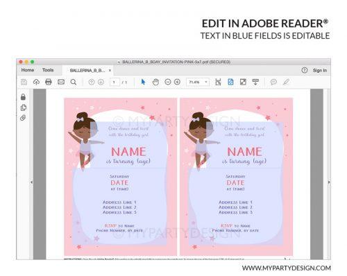 Black ballerina invitation - printable instant download editable invite