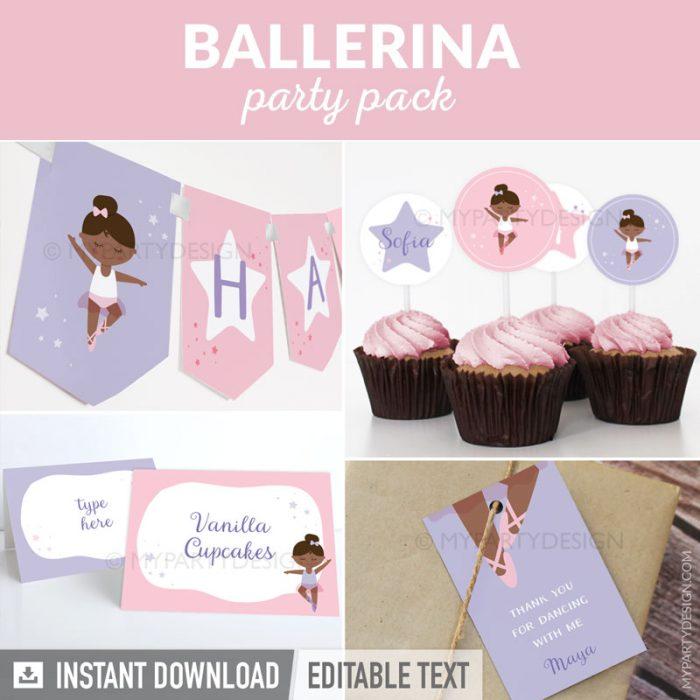 Black ballerina party printables