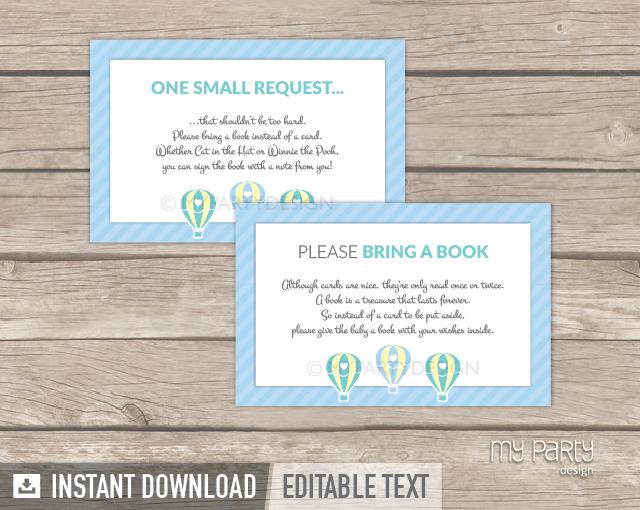 printable blue hot air balloon baby shower bring a book card