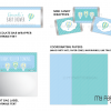 printable blue hot air balloon baby shower party decorations