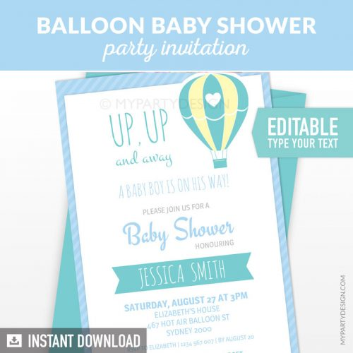 blue hot air balloon baby shower invitation printable and editable