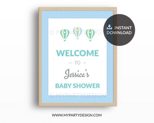 hot air balloon baby shower welcome sign for boy baby shower