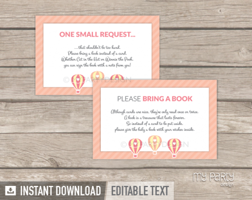 printable pink hot air balloon baby shower book insert