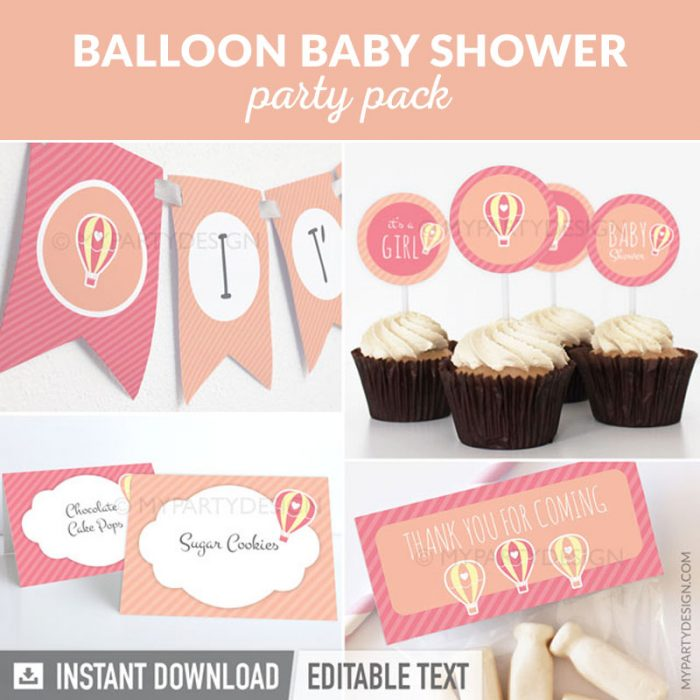 pink hot air balloon baby shower party decoration printables