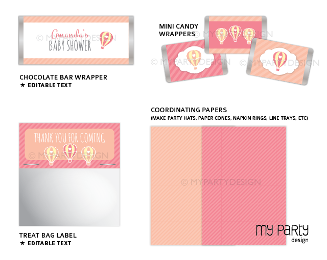 printable pink hot air balloon baby shower party decorations