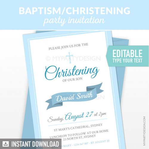 blue baptism or christening party invitation printable and editable