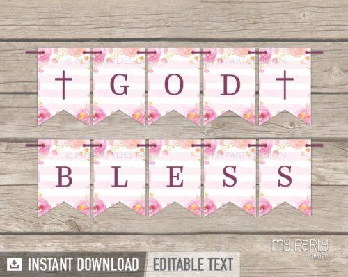 pink floral baptism god bless banner