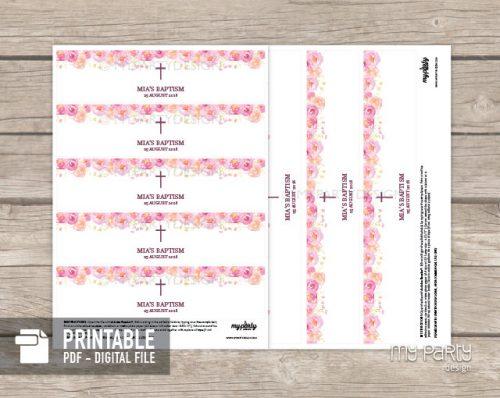 printable pink floral baptism bottle labels