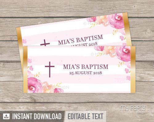 pink floral baptism chocolate labels