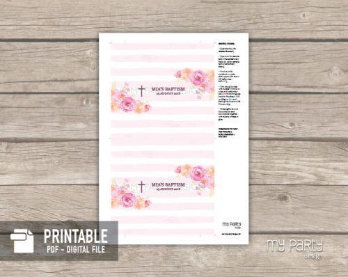 printable pink floral baptism chocolate labels