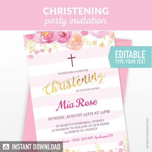 floral pink christening party invitation printable and editable