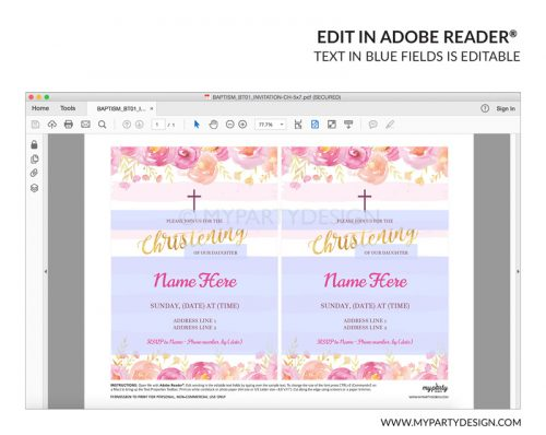 pink floral christening party invitation - editable printable invite