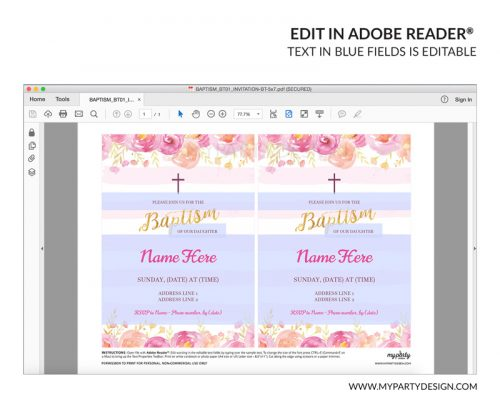 pink floral baptism party invitation - editable printable invite