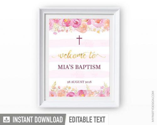 pink floral baptism welcome sign
