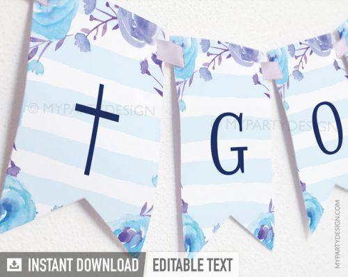 blue floral baptism banner for boy