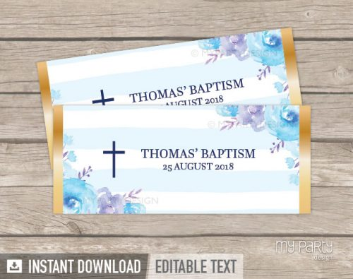 blue floral baptism chocolate wrappers