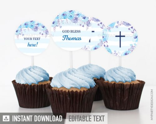blue floral baptism cupcake toppers