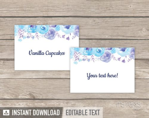 printable blue floral baptism food labels