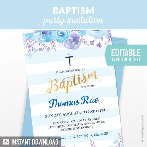 floral blue baptism invitation printable and editable