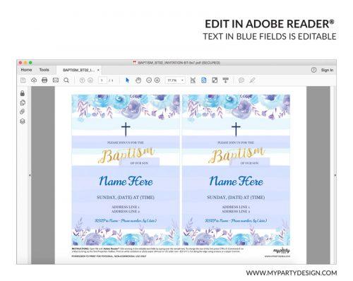 blue floral baptism party invitation - editable printable invite