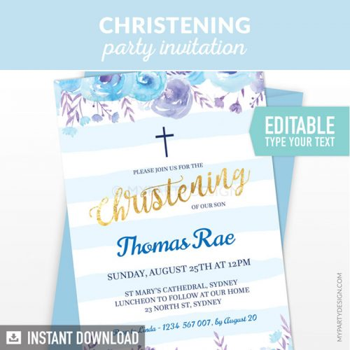 blue floral christening party invitation printable and editable
