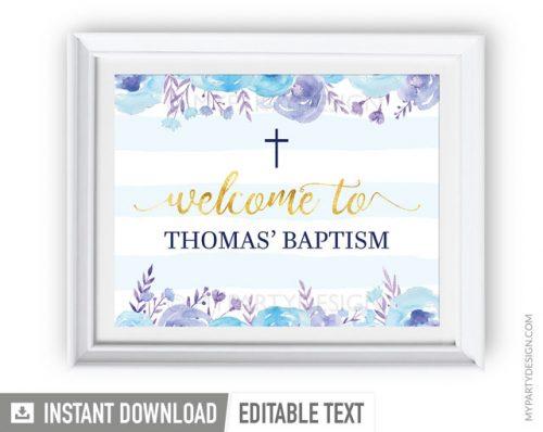 blue floral baptism welcome sign