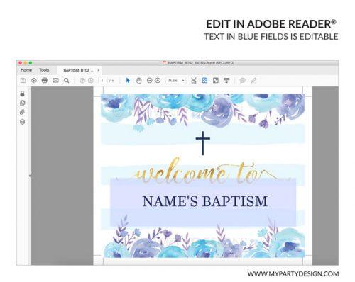 editable blue floral baptism welcome sign
