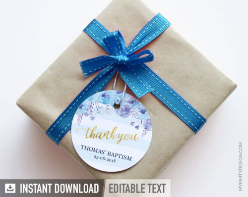 blue floral baptism thank you tags