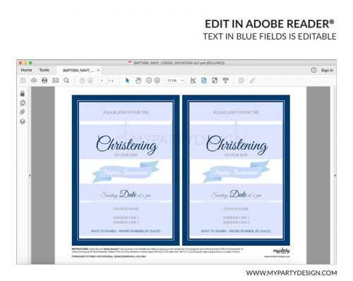 navy christening party invitation - editable printable invite