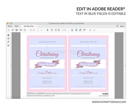 pink christening christening party invitation - editable printable invite