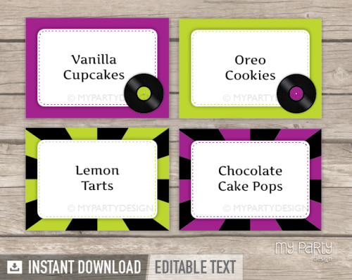 printable music party food labels