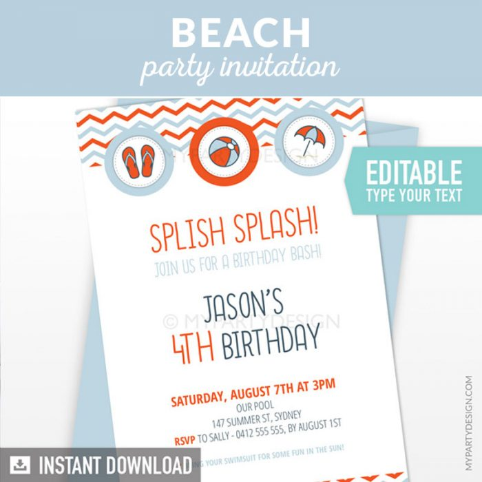 pool or beach birthday invitation