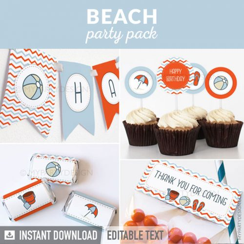 pool or beach party decoration printables