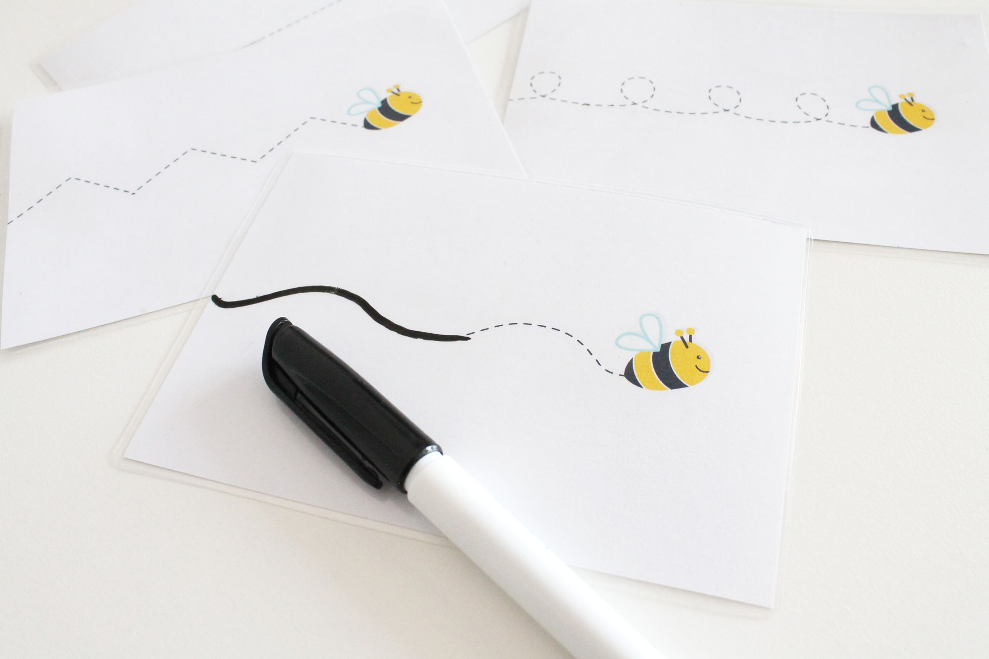Bee Tracing Cards for pre writing practice