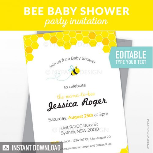 bumble bee baby shower invitation printable and editable