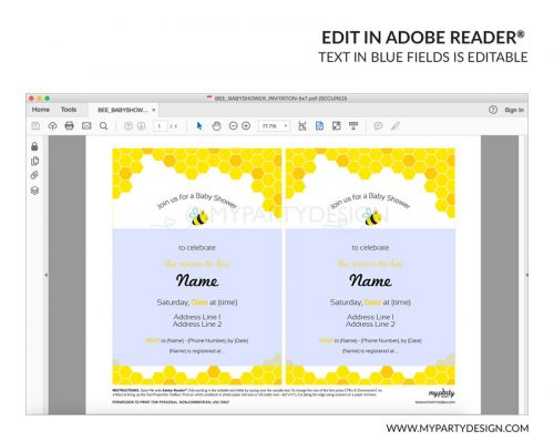 bee baby shower party invitation - editable printable invite