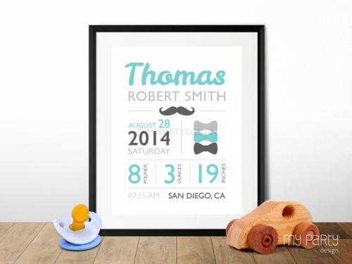 printable mustache baby birth stats print