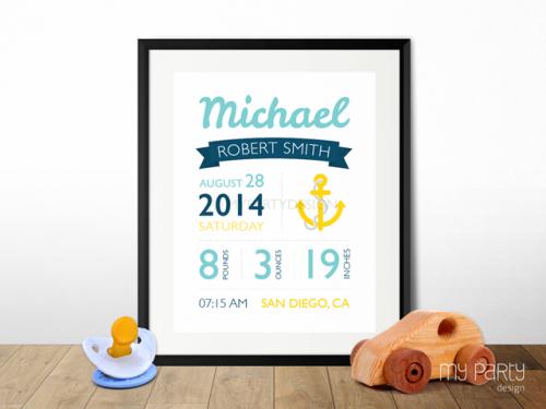 printable nautical baby birth stats print
