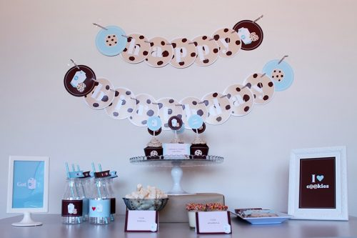 cookies and milk birthday party table