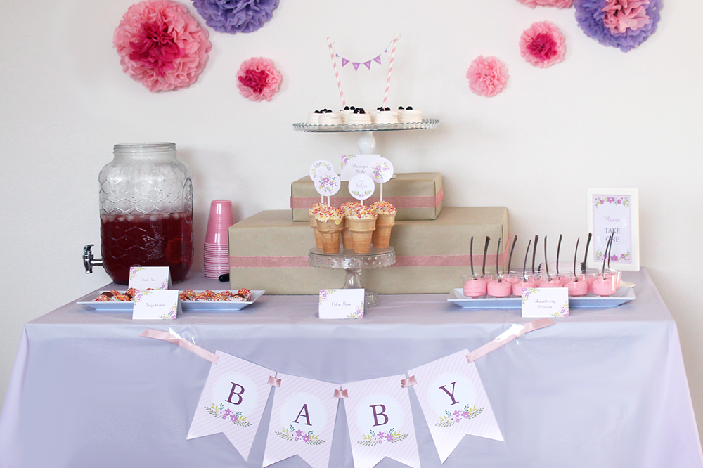 floral baby shower party decorations