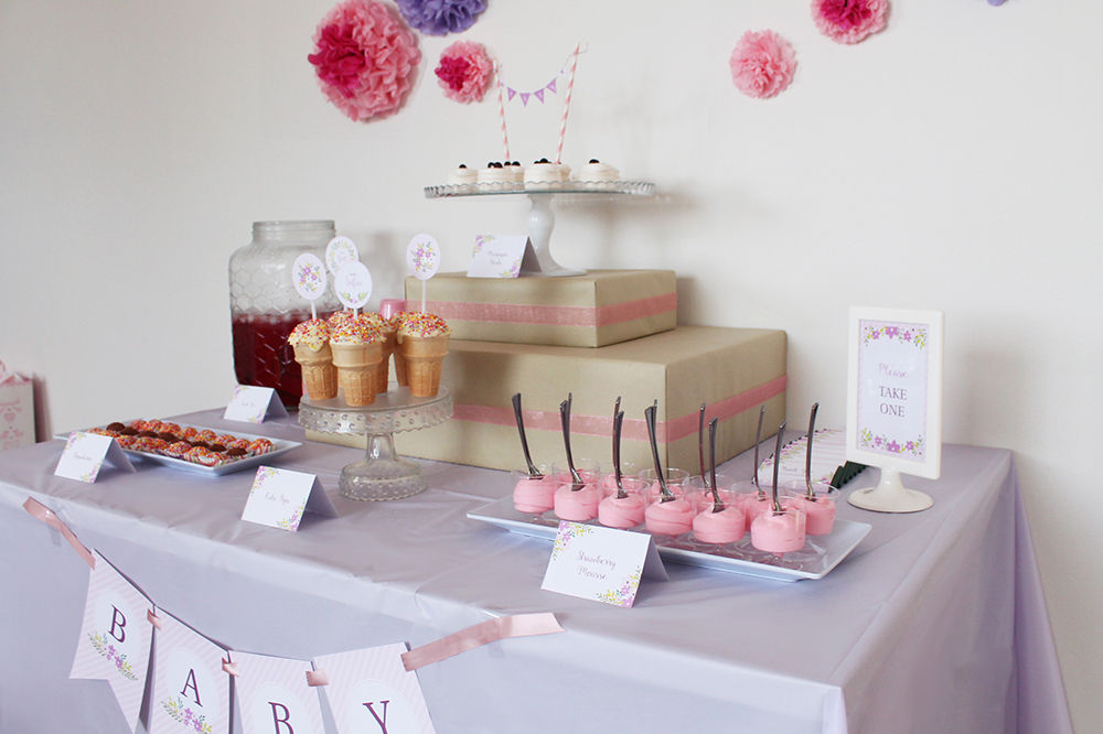 pink girl baby shower party table