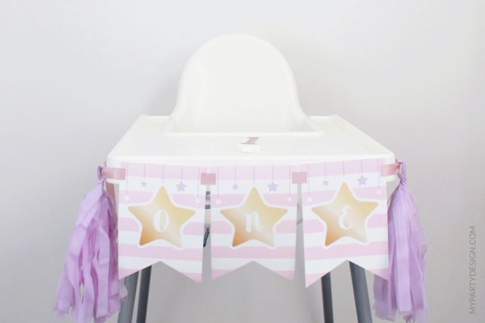 pink twinkle twinkle first birthday highchair banner